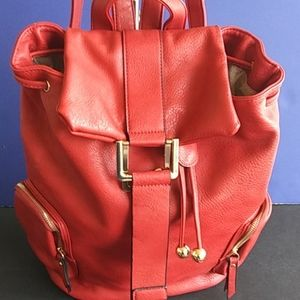 Red Leather Backpack Purse